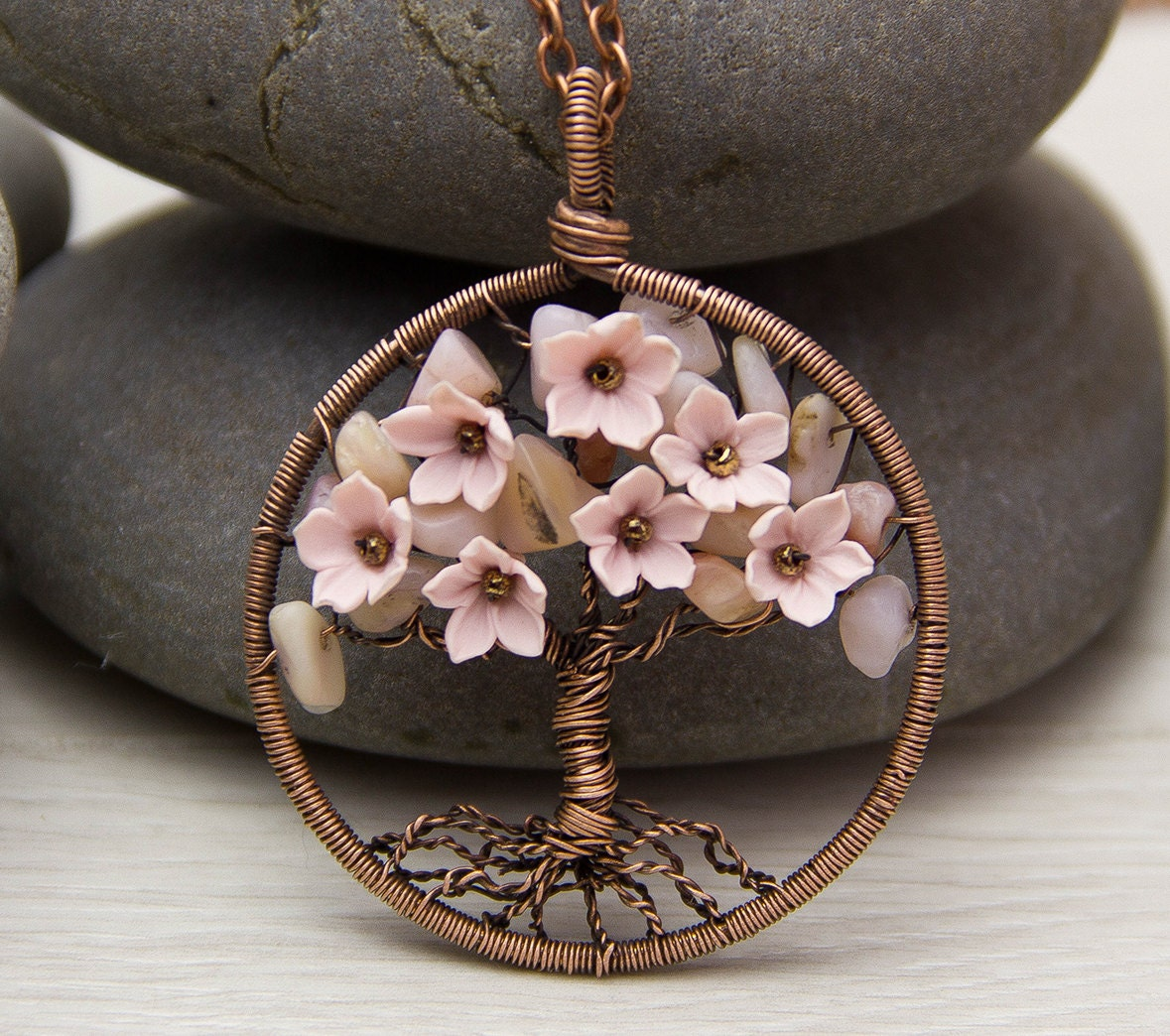 Wire Wrapped Jewelry : Tree of life necklace pendant copper wire wrapped
