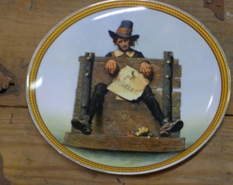"""Norman Rockwell """"Ye Glutton""""  limited edition plate by Knowles"""