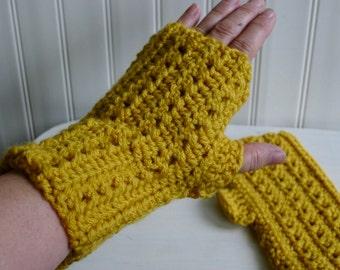 Pair of hand crocheted fingerless gloves  - mustard