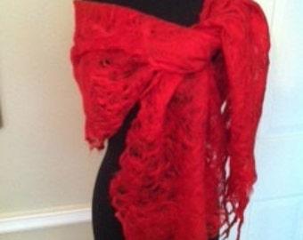 Luxurious Handmade Red Mohair Cobweb Shawl, Scarf, Wrap, by CID Textile Art