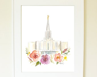 LDS Temple Watercolor (Jordan River), Jordan River Temple