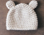 Bear Beanie - Crochet Beanie - White Winter Hat for babies, toddlers, adult
