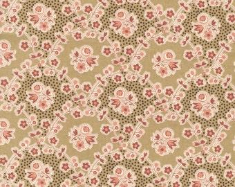 RJR Chocolate & Bubble Gum Pink Brown Floral Vine Civil War Fabric 2724-002 BTY