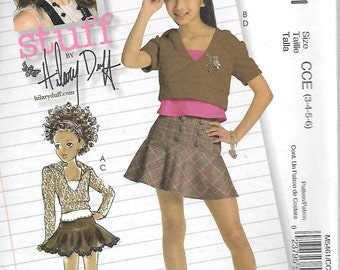 McCall's Hilary Duff Pattern 5461 HOODED TOPS & SKIRTS Children's Sizes 3 4 5 6