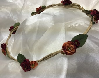 Red and pink vintage floral crown #202