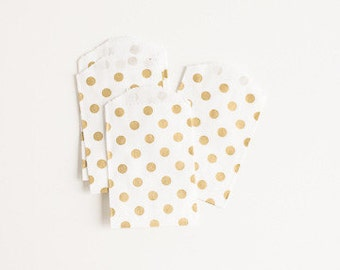 10 Mini Metallic GOLD Polka Dot Food Safe Flat Paper Craft Bags