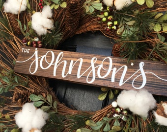 "CUSTOM NAME SIGN | 12"" x 2.5"" wreath adornment hand painted family name welcome fixer upper handlettered"