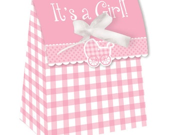 72 It's A Girl!  Pink Gingham Baby Shower Small Favor Bags with Ribbons  ~ Great Value!