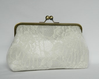 Ivory Lace Bridal Clutch, Ivory Floral Lace Clutch, Bridal Clutch, Wedding Clutch, Lace Clutch, Bridesmaids Clutch, Brides Clutch
