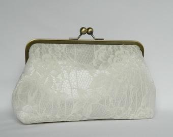 Ivory Lace Bridal Clutch, Ivory Floral Lace Clutch, Bridal Clutch, Wedding Clutch, Lace Clutch, Bridesmaids Clutch, Brides Clutch