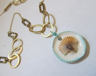 Beach Jewelry Ceramic Shell Pendant, Teal, White & Brown, Gold Chain