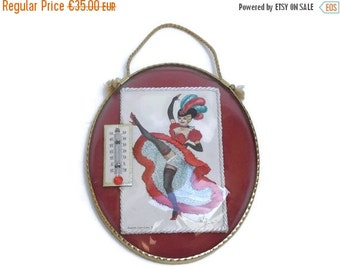ON SALE French Cancan Dancer Thermometer. Eloi Gunnier Postcard. Centigrade Thermometer. Paris Can Can Dancing Girl Wall Hanging. Pinup Post