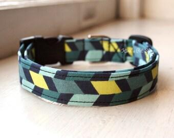 Geometric Dog Collar, Boy Dog Collar, Designer Dog Accessory, Pet Accessories, Adjustable Collar, Fabric Dog Collar, Plastic Nickel or Brass