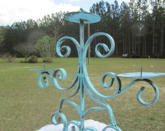 Shabby Chic Candle Holder,metal Candle Holder,Aqua Candle Holder,scroll, wedding decor,ornate, turquoise candle holder,Candle Stick,iron,