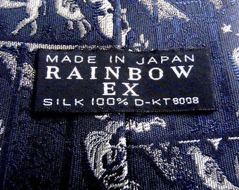 Men's RAINBOW EX Neckties 100%Silk Animal Theme L57'W3.5' Made in Japan