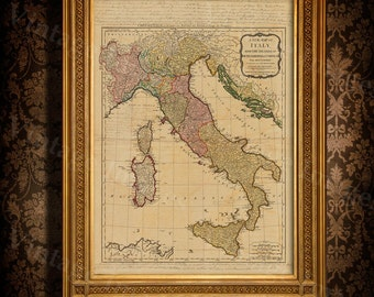 """Old map of Italy (1794) Italy map in 5 sizes up to 43""""x55"""" (109x140cm) Restoration Hardware Style Vintage map of Italy, Antique Home Decor"""