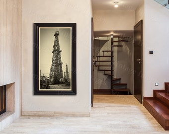 old historic oil well drill drilling rig derrick oil gusher field sepia tone photo wall Photo steampunk Old Photograph Home decor poster