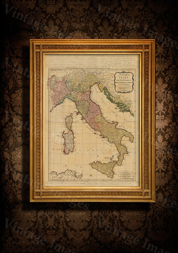 "Old map of Italy (1794) Italy map in 5 sizes up to 43""x55"" (109x140cm) Restoration Hardware Style Vintage map of Italy, Antique Home Decor"