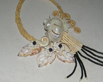 Handmade Sea Shell and Tahitian Black Pearl Tribal Necklace