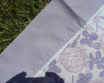 Purple flower power vintage pillowcase Made in the USA