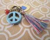 Assorted Handmade Charms - Ready Made Jewelry Parts - Vintage Enamel Charms - Peace and Happiness - Boho Hippy Style