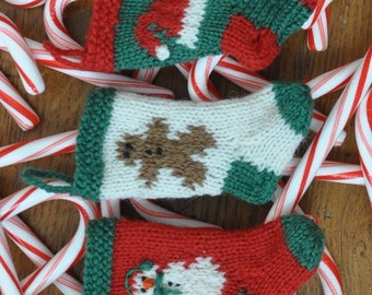 Snowman, Gingerbread Man, Santa Hat Hand-Knit Christmas Stocking Ornaments