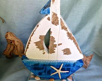Sail boat_Rustic chunky wood sail boat with starfish_beach decor_nautical decor