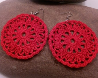 jewelry, crochet, earrings circle, pale red,  valentine gifts, handmade jewelry, crocheted jewelries