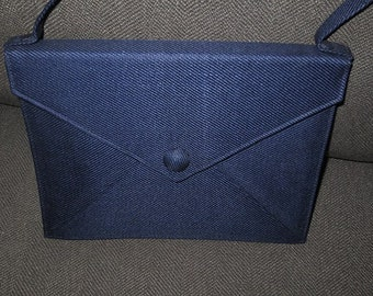 Vintage 70's Holt Renfrew Twill Evening Purse Handbag , Made in Italy , Navy Blue