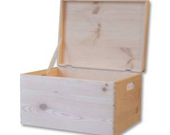 Plain Wooden Chest with Lid Toy Box Storage Chest - 39.5x 30x 24cm
