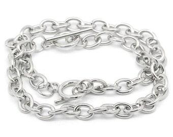 5 Silver bracelets, Wholesale link chain Bracelet, Charm bracelets, Gift idea,  Add a charm, Jewelry making,  Jewelry supplies, Toggle clasp