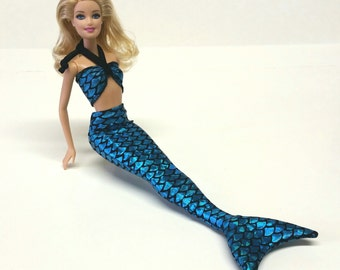 Mermaid tail and top set for Barbie - blue metallic fish scales spandex