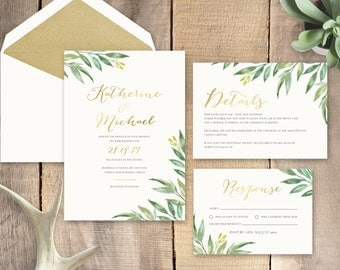 Greenery with Gold Foil Wedding Invitation - Deposit