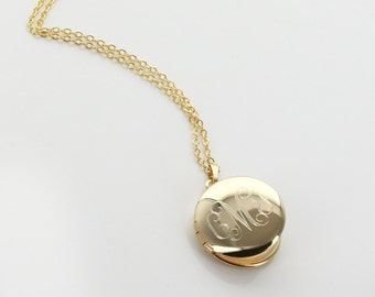 Small Round Engraved Locket Gold Tone