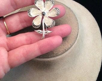 Vintage Silvertone Enameled Floral Pin