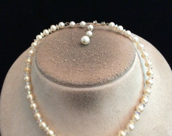 Vintage Signed Marvella Faux Pearl & Aurora Borialis Glass Beaded Necklace