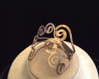 Vintage Chunky Wide Goldtone Swirl Cuff Bracelet