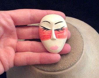 Vintage Hand Painted Face Pin