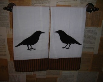 Pair of Primitive, crow  tea towel