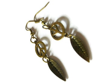 Antiqued Bronze Peace Earrings, Bohemian Jewelry, One of a Kind, Hippie, Feathers, Gift for Her, Recycled, Green, Environmentally Friendly