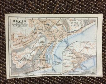 1910 Dover Map [5.8 x 3.8 in.] Original British City Map