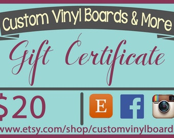 Gift Certificate - 20-50 US Dollars Gift Card