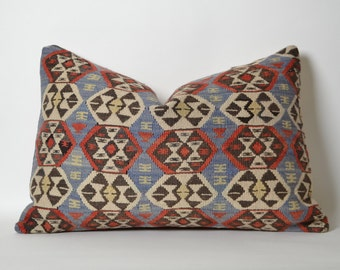 Vintage Kilim Pillow Cover - 16x24 Bohemian Home Decor Kilim Cushion Cover Shabby Chic Pillowcase Decorative Couch Pillows Old Kilim Pillow