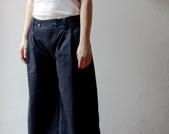 baggy pants-blue cotton twill-made to order