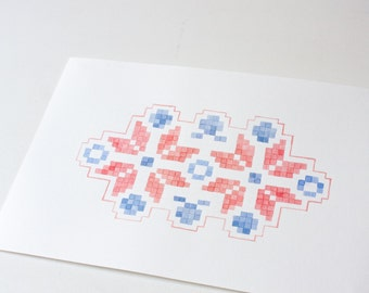 original watercolor painting - red and blue stars -gift  idea