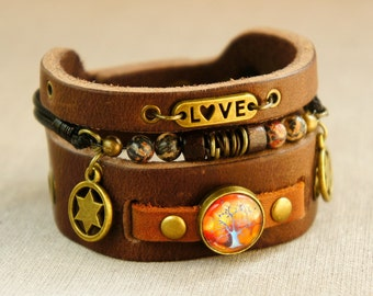 Adjustable Thick Leather Cuff Tree of Life Bracelet with Jasper Gemstones