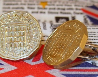 Boxed Pair Vintage British 1960 Threepence 3d Coin Cufflinks Wedding 57th Birthday