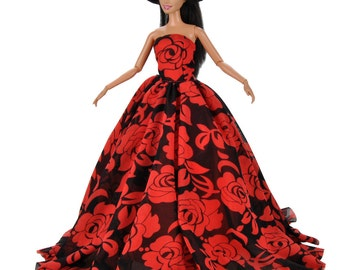 Handmade Dolls Clothes Wedding Dress Party Gown Red Rose Outfit For Barbie Dolls