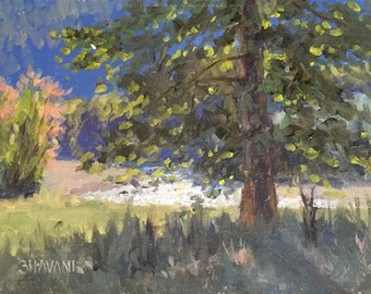 Elwha Sparkle  - Original contemporary Landscape painting - Oil Painting