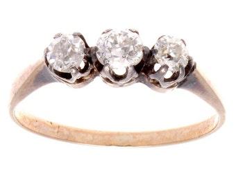Victorian Three Stone Diamond Gold Ring